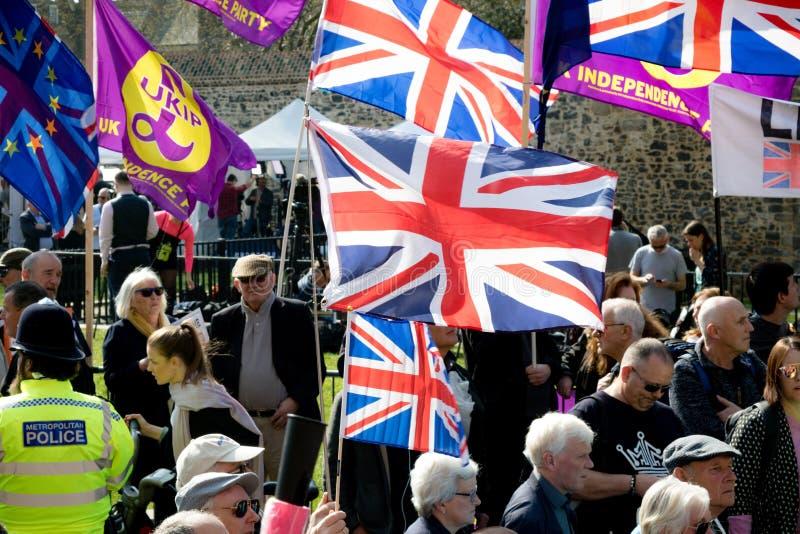 Protestation de jour de Brexit à Londres image libre de droits