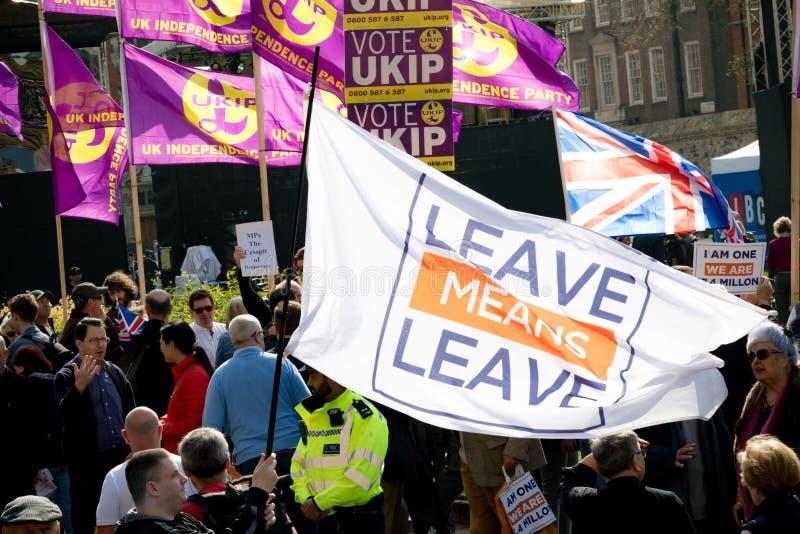 Protestation de jour de Brexit à Londres images stock