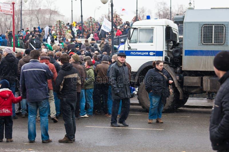 Protestation de masse contre des élections parlementaires. image libre de droits