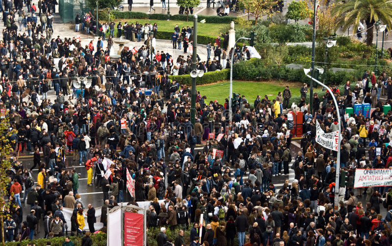 Protestation de masse, streptocoque de Panepistimiou, Athènes, Grèce image libre de droits