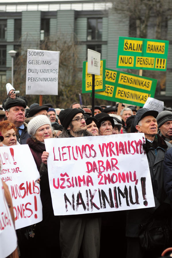 Protestation de pensionnés photographie stock libre de droits
