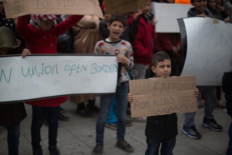 Protestation de réfugié à Athènes photos libres de droits
