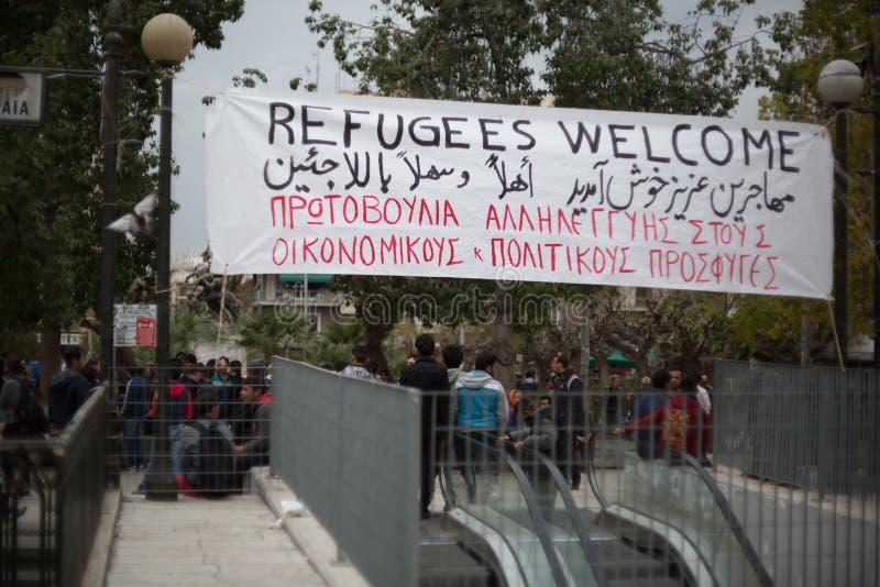 Protestation de réfugié photos stock