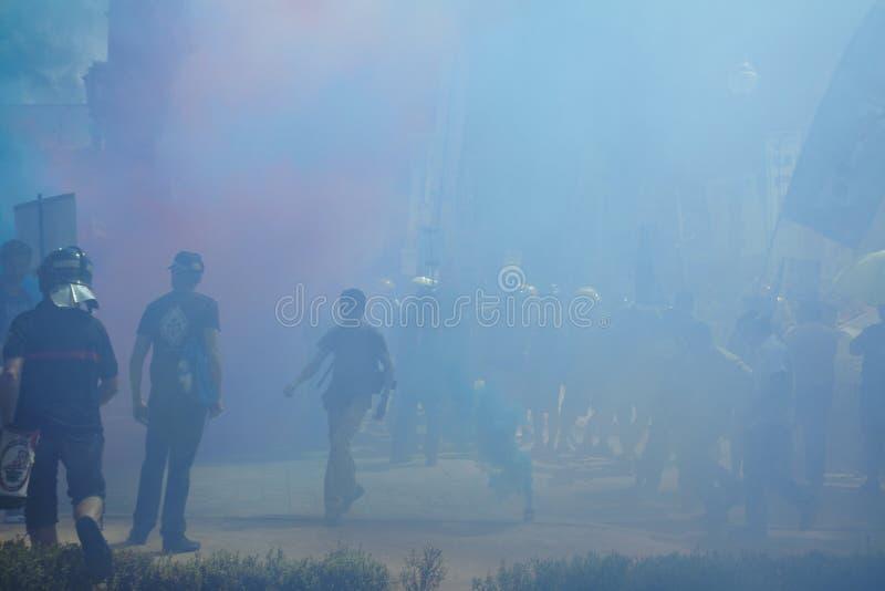Protestation de sapeurs-pompiers images libres de droits
