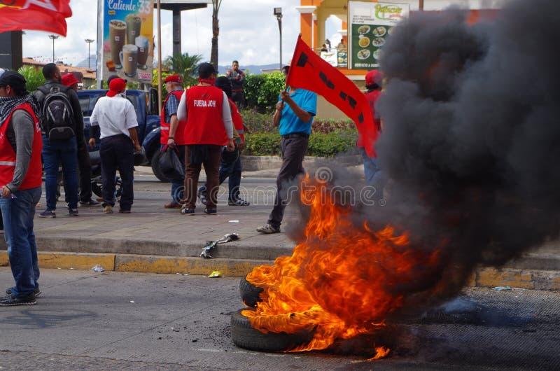 Protestation du Honduras contre le gouvernement Tegucigalpa 27 de Enero 2019 2 images stock