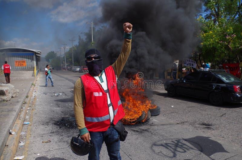 Protestation du Honduras contre le gouvernement Tegucigalpa 27 de Enero 2019 2 image libre de droits