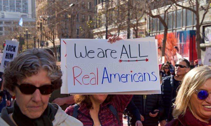 Protestation march, San Francisco, CA du ` s de femmes photo libre de droits