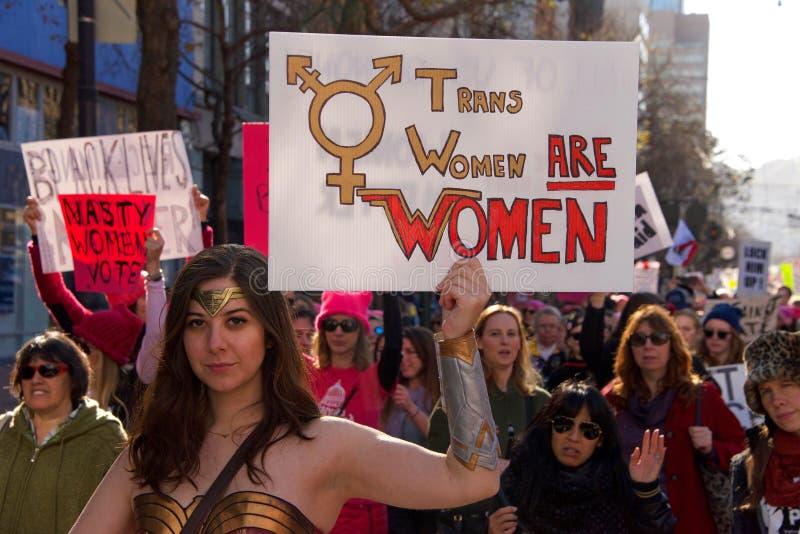 Protestation march, San Francisco, CA du ` s de femmes photo stock