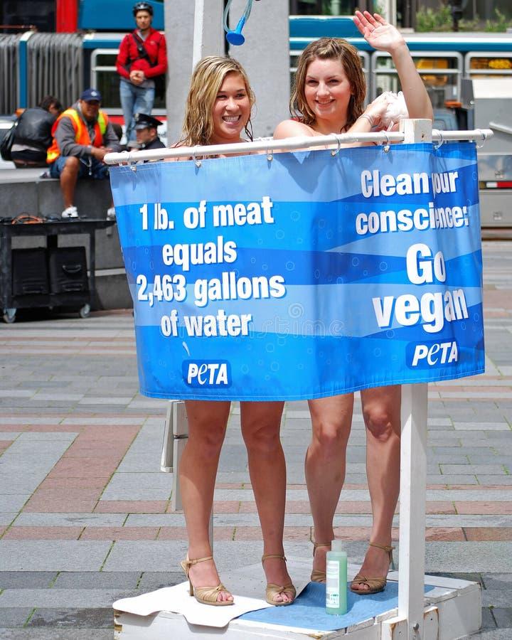 Protestation nue de dames de Peta image stock