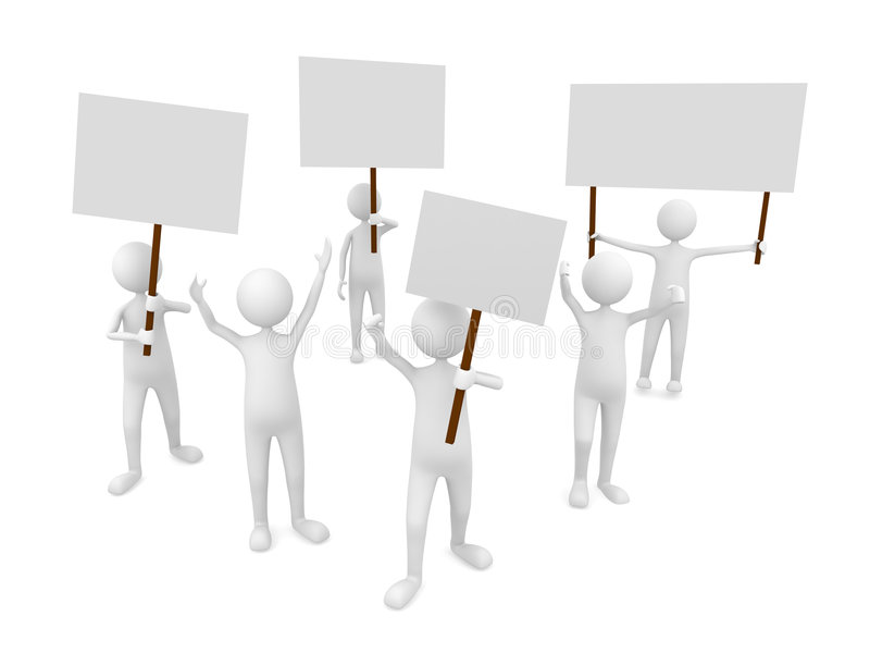 Protestation with posters vector illustration