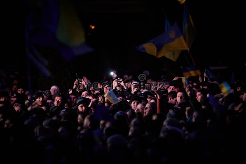 Protestation sur Euromaydan à Lviv photo stock