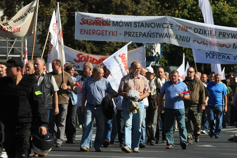 Protestation of workers. Szczecin – September 18: Protestation of Solidarnosc and a workers of shipyard and other place from whole Poland against polish stock photography