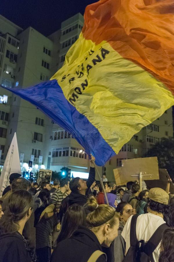 Protestations contre l'extraction d'or de cyanure chez Rosia Montana photos libres de droits