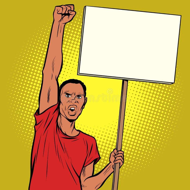 Protestations d'homme d'Afrikan avec une affiche illustration de vecteur