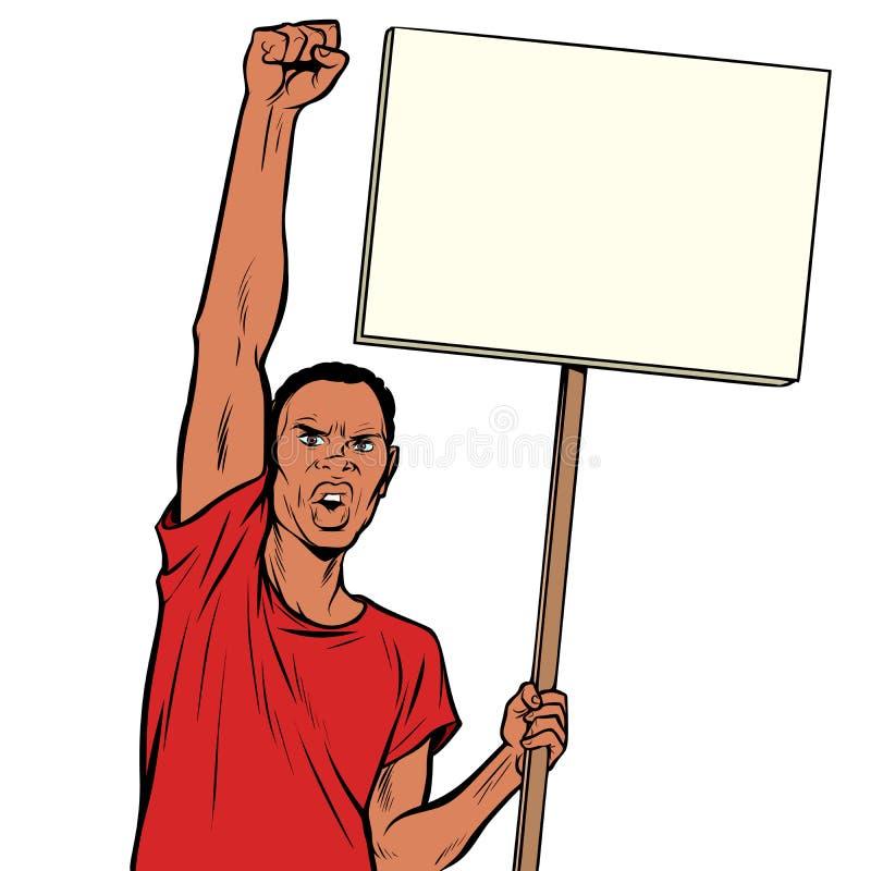Protestations d'homme d'Afrikan avec une affiche Isolat sur le fond blanc illustration stock