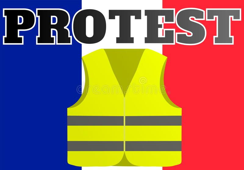 Protestations des gilets jaunes en France Approprié aux nouvelles sur Gilets Jaunes des événements ayant lieu en France illustration stock