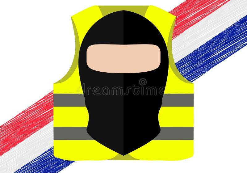 Protestations des gilets jaunes en France Approprié aux nouvelles sur Gilets Jaunes Vecteur des événements ayant lieu en France illustration stock