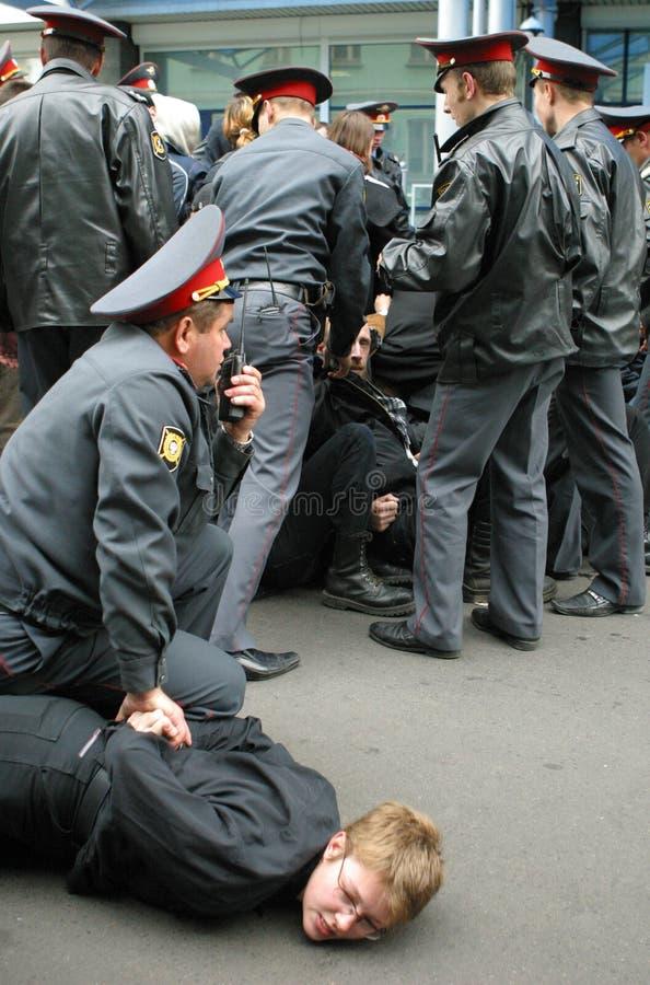 Protestatore ritenuto fotografia stock libera da diritti