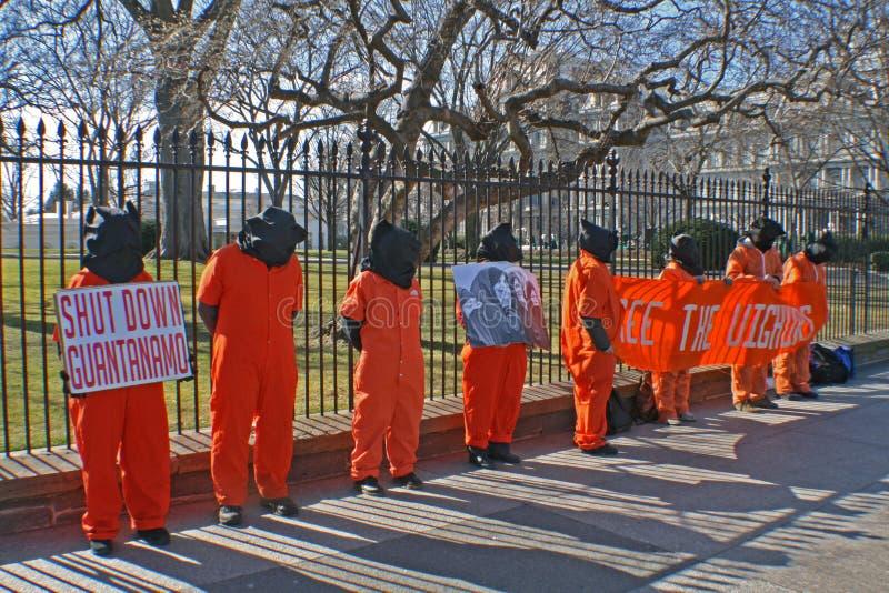 Protestatori di Guantanamo fotografia stock libera da diritti