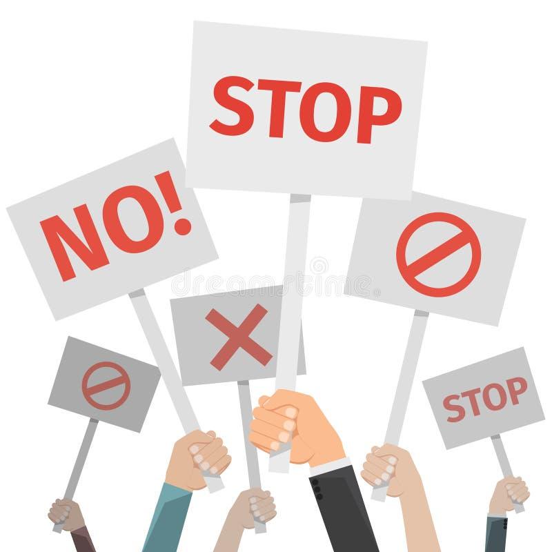 Protestbegrepp Händer som rymmer olikt tecken som är inget eller stoppet, kors och, förbjuder stock illustrationer