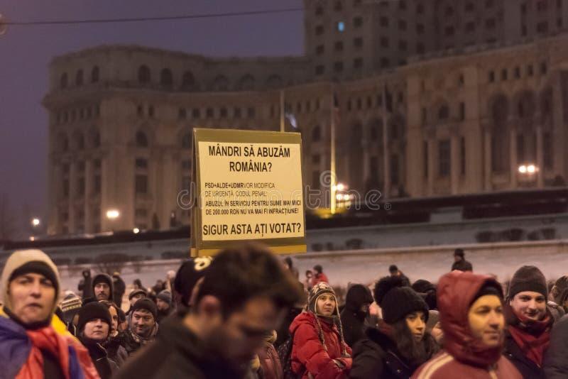 Proteste a Bucarest fotografia stock libera da diritti