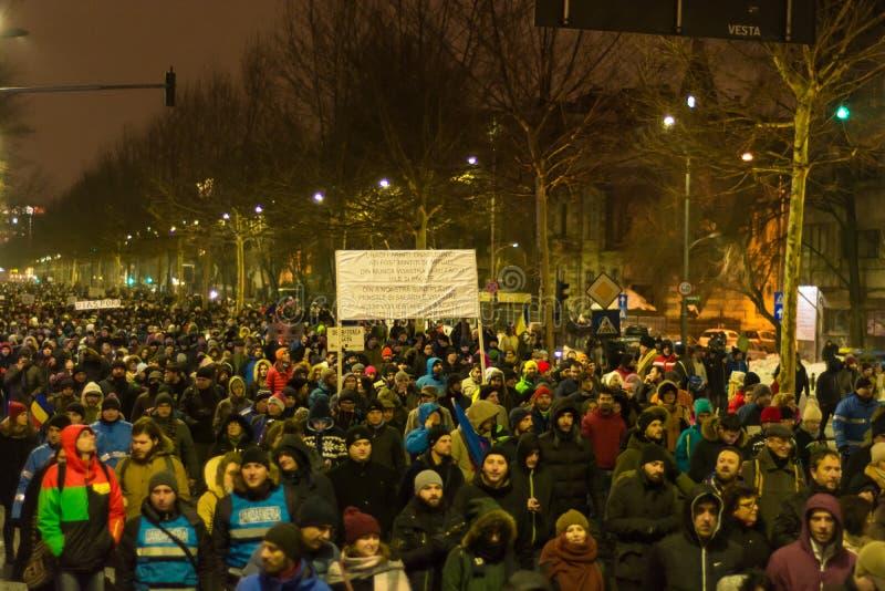 Proteste in Bukarest stockbilder