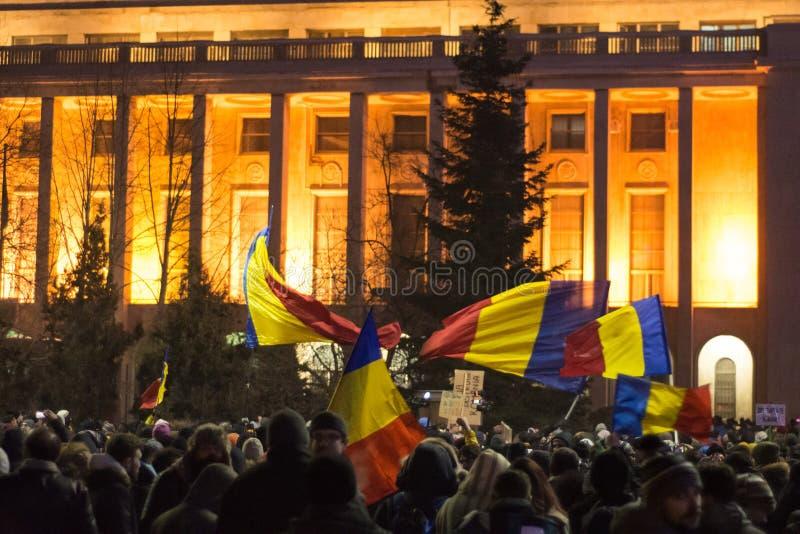 Proteste in Bukarest stockbild