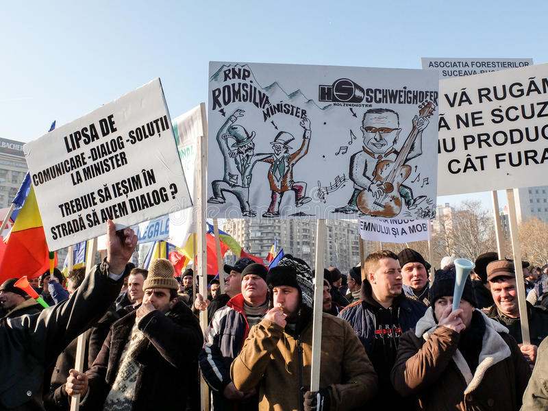 Proteste in Bukarest, Rumänien lizenzfreie stockfotografie