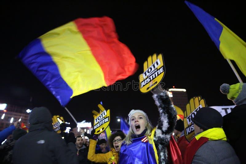 Proteste Bukarests, Rumänien lizenzfreies stockbild