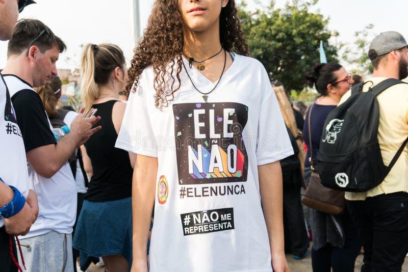 Proteste contra Jair Bolsonaro, corriendo para el presidente que esto elige fotografía de archivo libre de regalías