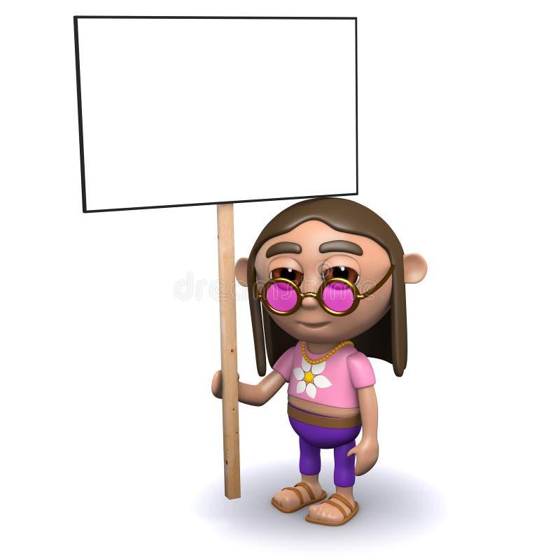 Proteste der Hippie 3d stock abbildung