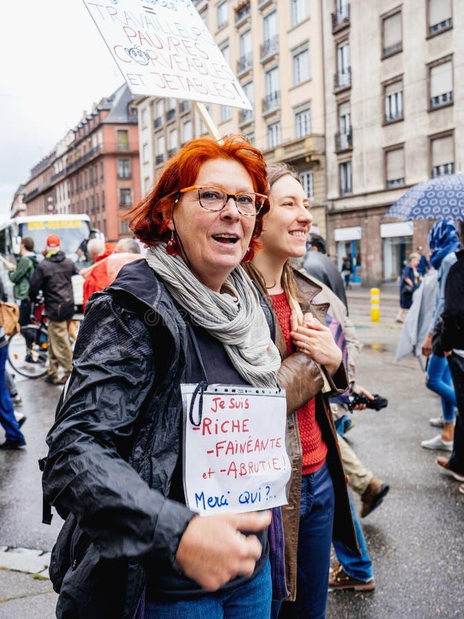 Proteste in Francia contro le riforme di Macron fotografie stock