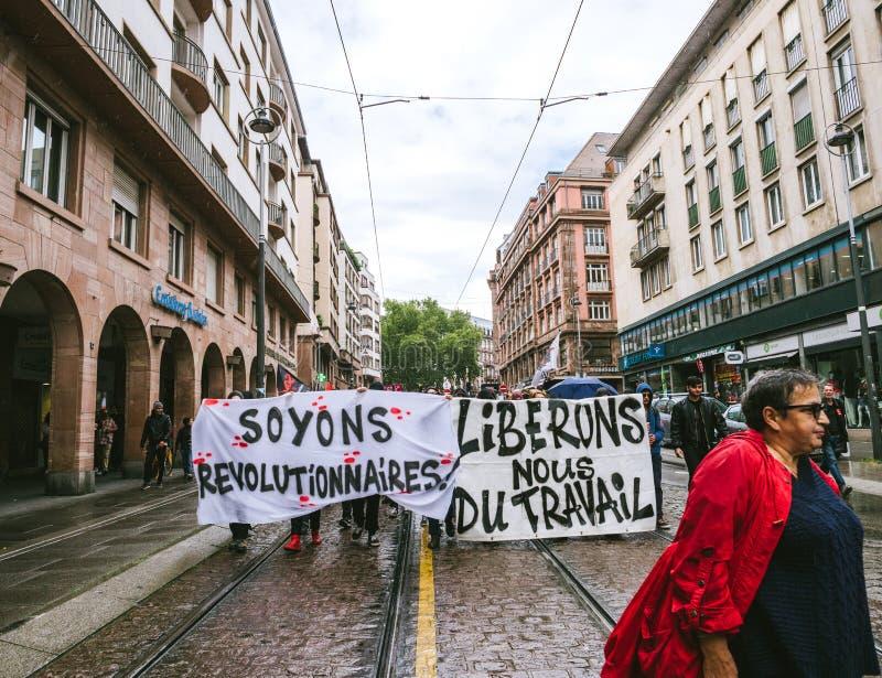 Proteste in Frankreich gegen Macron-Reformen ließen ` s revolutionär sein lizenzfreie stockbilder