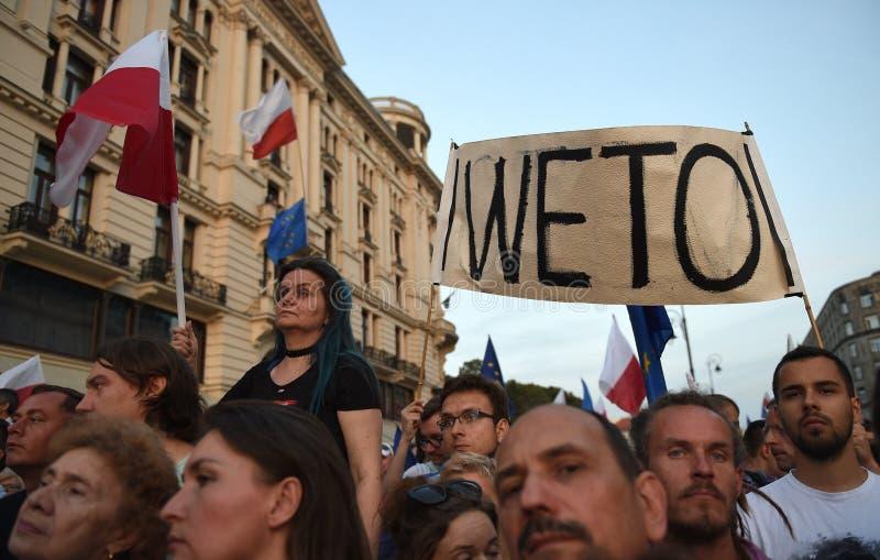 Proteste gegen Regierung in Polen lizenzfreies stockbild