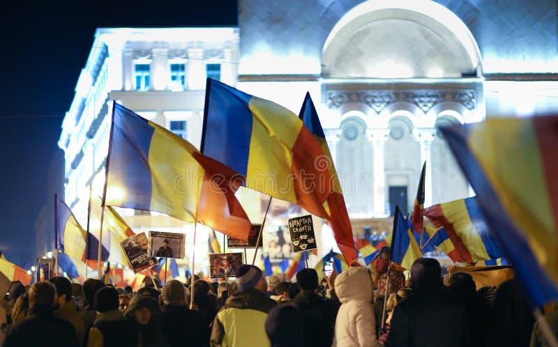 Proteste gegen Regierungsamnestiegesetz in Rumänien stockbild