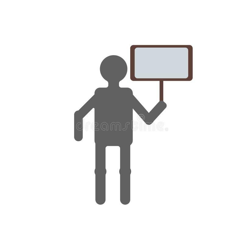 Proteste la muestra y el símbolo del vector del icono aislados en el fondo blanco ilustración del vector