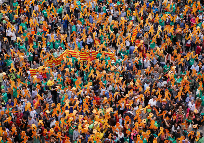 Proteste a pro cultura e língua catalan de catalonia na ilha espanhola de Mallorca fotos de stock royalty free