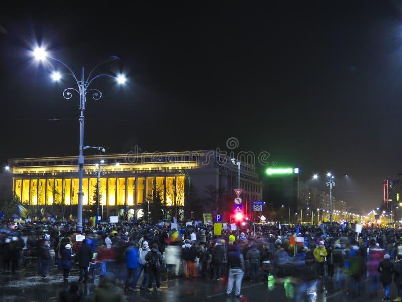 Proteste in Romania contro corruzione fotografia stock