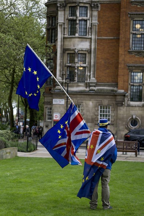 Protesteerder anti-Brexit in Londen stock foto
