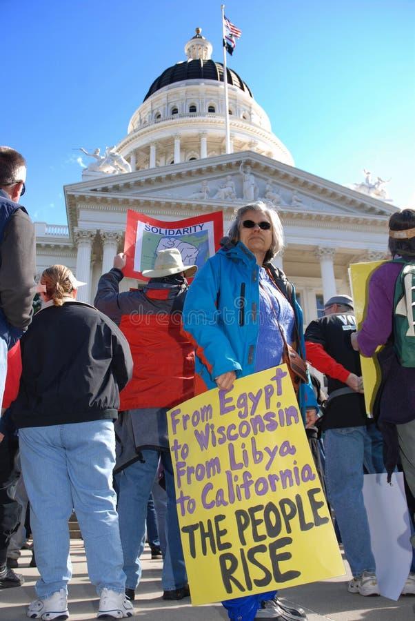 Protesteerder bij het Capitool van de Staat royalty-vrije stock afbeeldingen