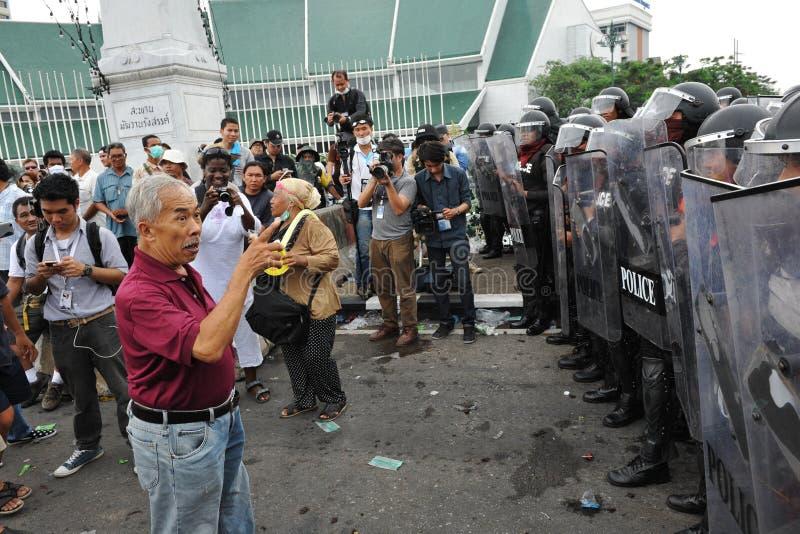 Protesteerder en Politie royalty-vrije stock foto's