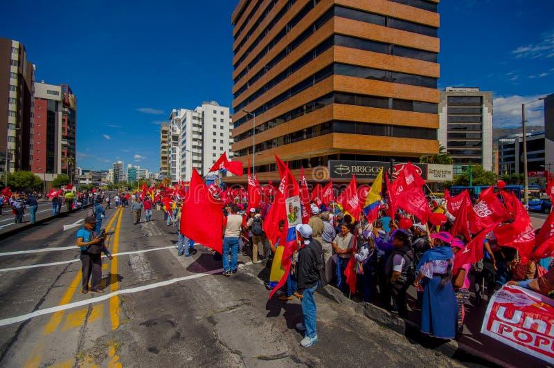 Protesteerders met rode vlaggen van Unie Populaire partij royalty-vrije stock foto