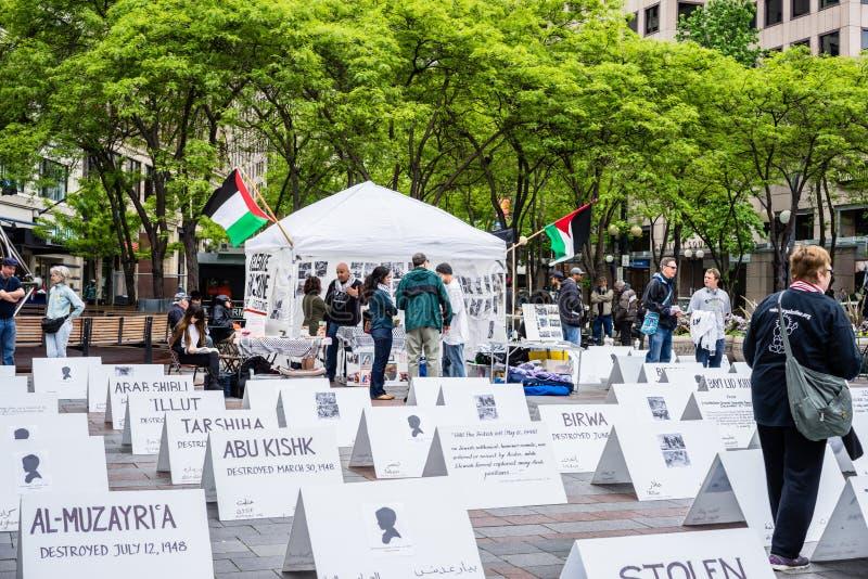Protesteerders ondersteunend Palestina royalty-vrije stock fotografie