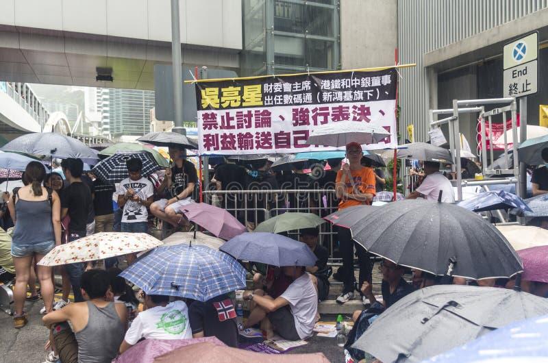 Protesteerders over Noordoostelijke Nieuwe Gebieden Hong Kong royalty-vrije stock afbeelding