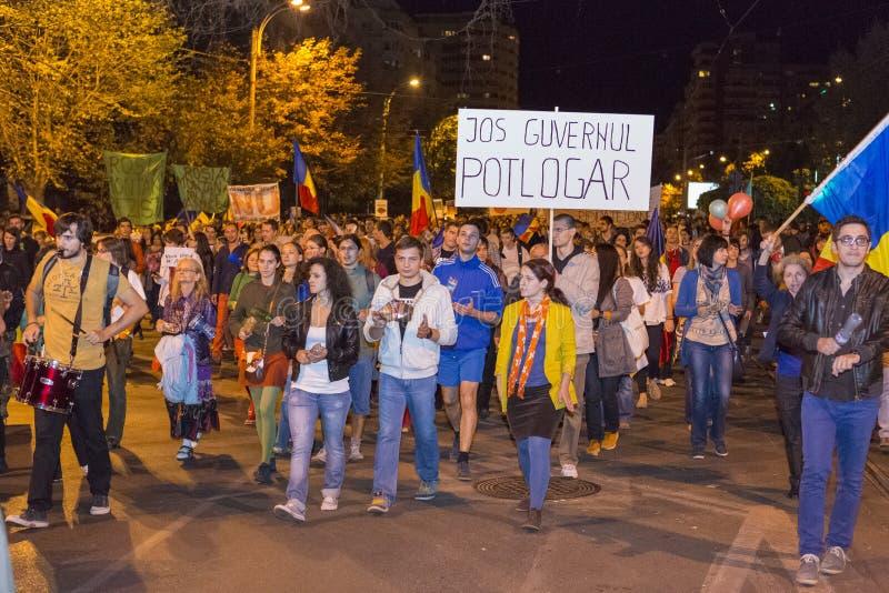 Protesten tegen cyanide gouden extractie in Rosia  royalty-vrije stock fotografie