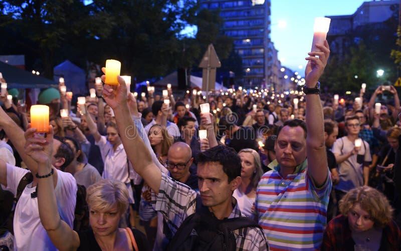 Protesten tegen overheid in Polen stock foto's