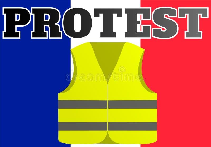 Protesten van gele vesten in Frankrijk Geschikt voor nieuws op Gilets Jaunes van de gebeurtenissen die in Frankrijk plaatsvinden stock illustratie