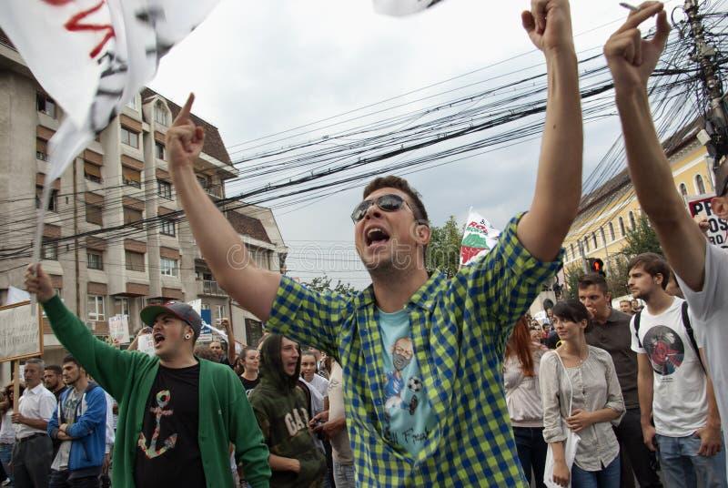 Protesten voor Rosia Montana royalty-vrije stock afbeeldingen
