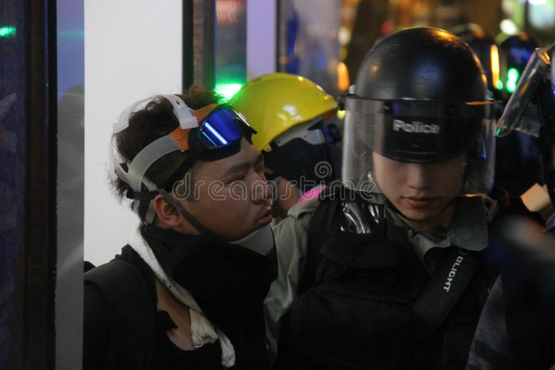 Hong Kong Protester arrested during 831 royalty free stock photos
