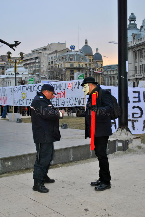 Protester being legitimized in Bucharest royalty free stock photography